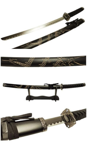Espada Katana Wakisashi Dragão Esculpido Aço Suporte Parede