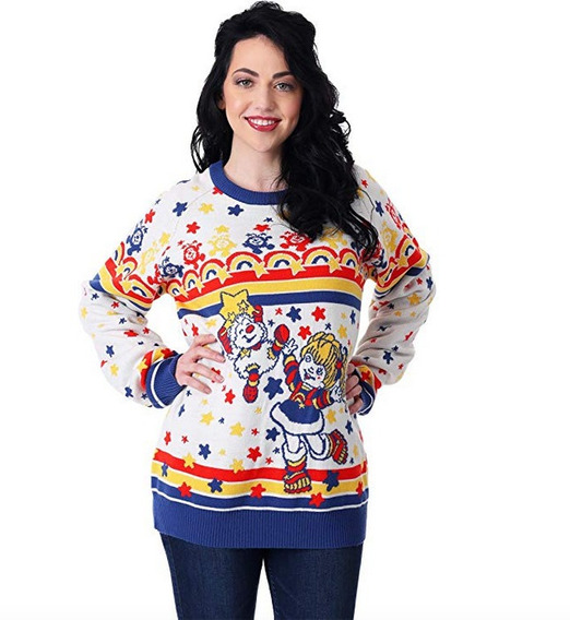 Suéter Feo Navidad Ugly Sweater Vintage Rainbow Brite Mujer