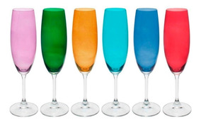 Jogo De 6 Tacas Para Champanhe Anna Colorido Em Cristal Eco