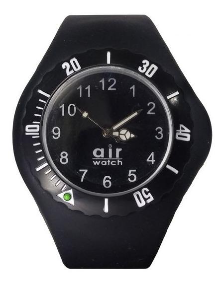 Relógio Pulso Air Watch Pulseira De Silicone Preto M6