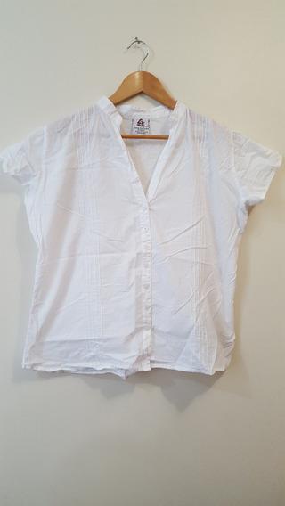 Blusa Camisa Feminina Branca Manga Curta Casa Da Índia