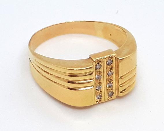 Anel Masculino Com Diamantes Ouro 18k - Aro 28 - 5,1 Gramas