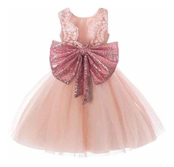 Vestido Rosa Moño Gigante Lentejuelas Tallas: 2-3-4-5 Años