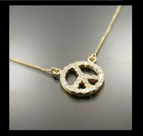 Corrente De Ouro 18k + Pingente Símbolo Da Paz De Diamantes