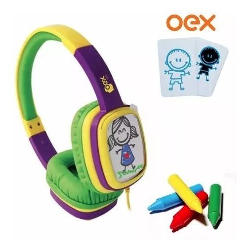 Fone De Ouvido Infantil Oex Hp302, Giz De Cera - Amarelo