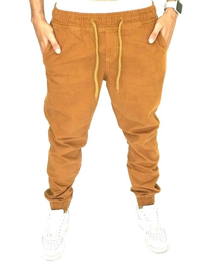 Calça Jogger Bege Joger Masculina Sarja Saruel Premium Moda