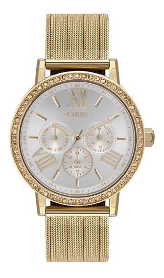 Relógio Feminino Euro Multiglow Eu6p29ahl/4b 42mm Dourado