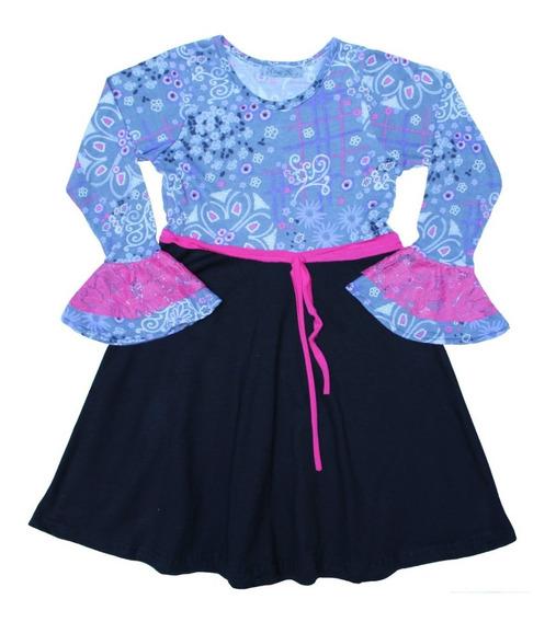 Vestido De Niña Rosa Blues Flores Diseño