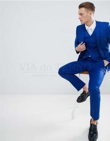 Terno Azul Royal Oxford Italiano+5 Cores Oferta!!