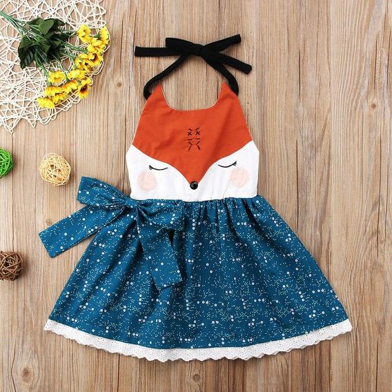Vestido Raposa Floral Infantil Bebê Verão Colorido Renda