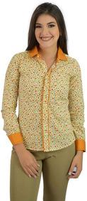 Camisa Social Feminina Amarela Florida - Imperdível