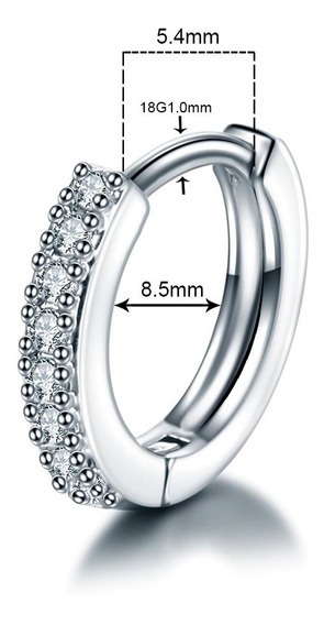 Piercing Argola Prateada Cristal Unidade Conch Helix