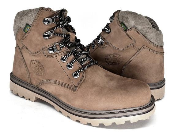Bota Coturno Sapato Casual Feminino Couro Legítimo Marrom