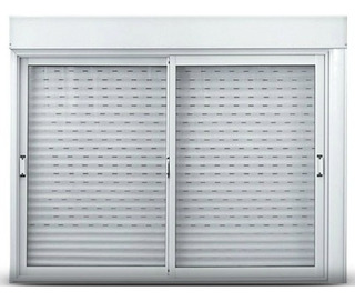 Ventana Aluminio Oblak Cortina Pvc Cajón Compacto 150x110