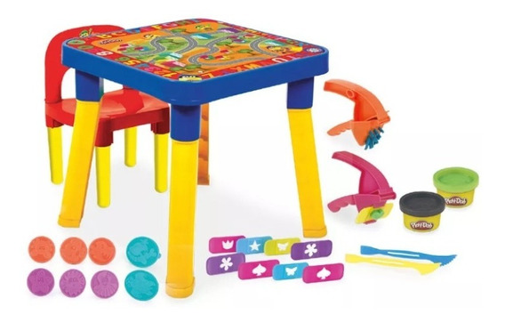 Mesa Play-doh Infantil Com Cadeira , Acessórios E Massinhas