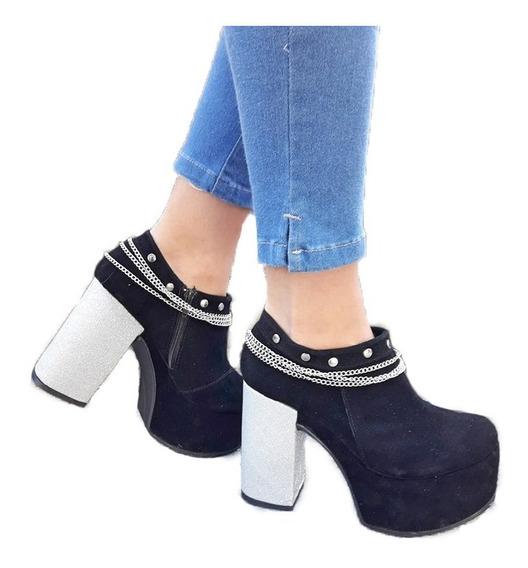 Zapatos Mujer Botas Texanas Dama Taco Alto Plataforma 21