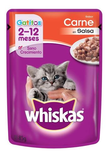 Pouch Whiskas Gatitos Sabor Carne En Salsa X 85 Grs