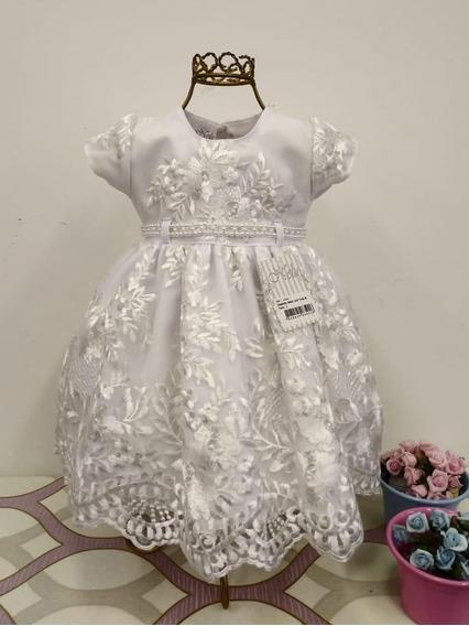 Vestidos Bebê Batizado Branco + Bolero Vermelho + Faixa