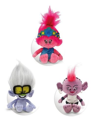 Clarín Colección Trolls, Set De 3 Peluches