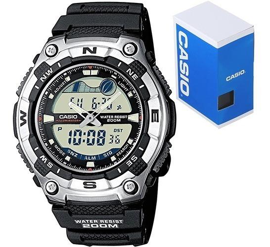 Reloj Casio Outgear Aqw100 Caucho Grafico Mareas Buceo 200m