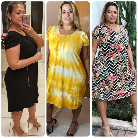 Kit Lote 3 Vestido Gospel Plus Size Evangelica Feminino 48/54 Voce Escolhe Seu Modelo Revenda