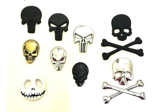 Adesivo Skull Caveira 3d Emblema Carro Moto Harley 883 Iron