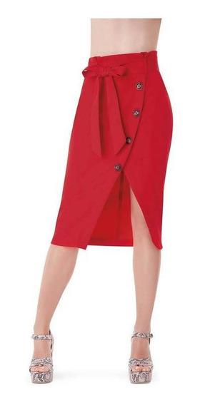 Falda Dama Rojo Devendi Con Botones