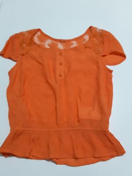 Blusa Para Niña Color Naranja Con Encaje