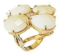 Anel Feminino Pedra Opala Com Cristal Banho Á Ouro