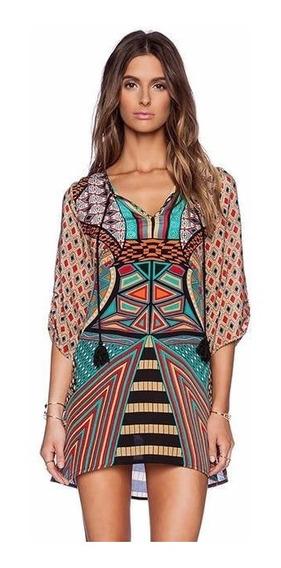 Vestido De Praia Geométrico Vintage Importado Pronta Entrega
