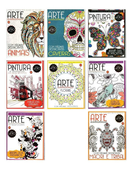 Kit 8 Livros De Colorir Adulto - Arte Antiestresse Lote 2