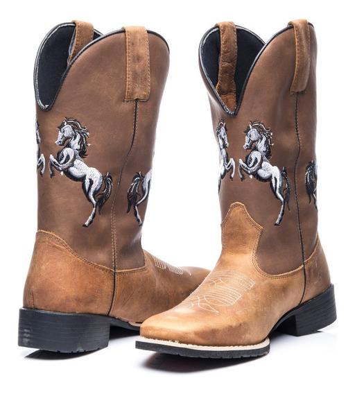 Bota Texana Masculino Em Couro Legitimo 2 Cavalos Whisky
