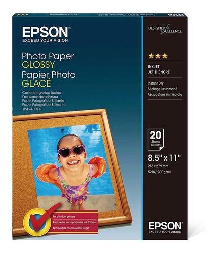 Papel Photo Glossy Epson 8.5 X11  Tamaño Carta Dpi 720 20hjs