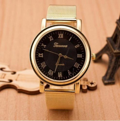 Relogio Geneva Quartzo Dourado Feminio Luxo