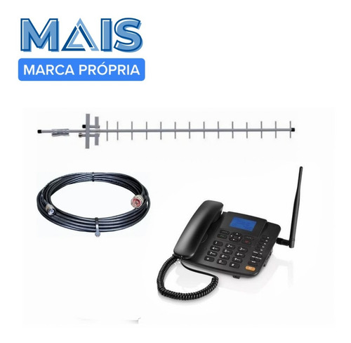 Kit Telefone De Mesa Rural Dual Chip Quadriband 15dbi