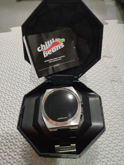 Relógio Chilli Beans Digital Prata E Preto *original*