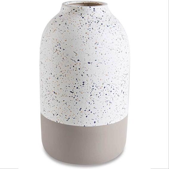 Vaso Decorativo Em Cimento Branco Com Cinza 27,5cm