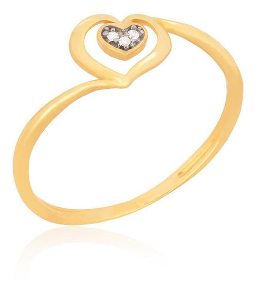 Anel De Ouro 18k Coração Zircônias Brancas Coleção Classic
