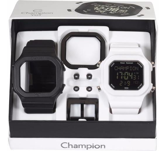 Relógio Champion Yot Preto E Branco C/pulseiras E Acessórios
