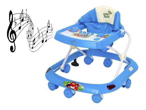 Andador Bebe Menino Azul Musical E Antiqueda Infantil Novo