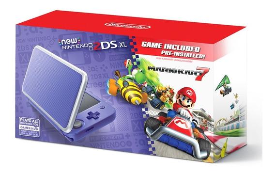 Kit Nintendo Consola 2ds Xl Morado Plateado + Mario Kart 7