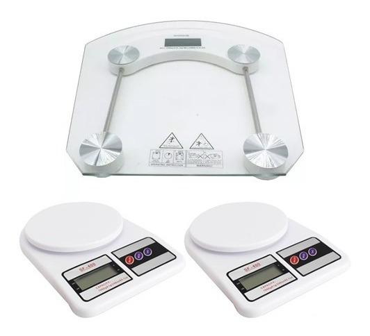 2 Balança De Cozinha Digital Até 10kg + 1 Balança Até 180kg