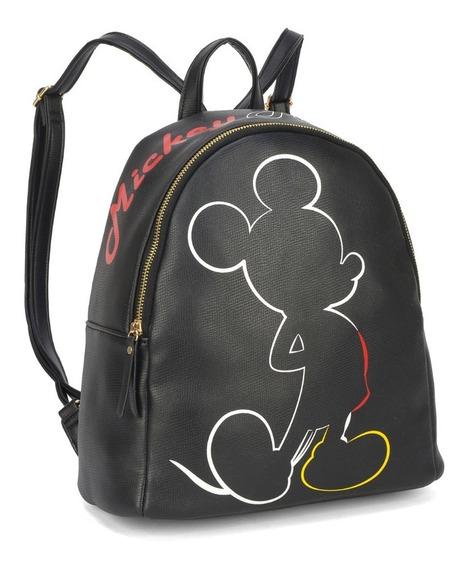 Mochila Bolsa Feminina Mickey Mouse Corino Preta Bmk 78416