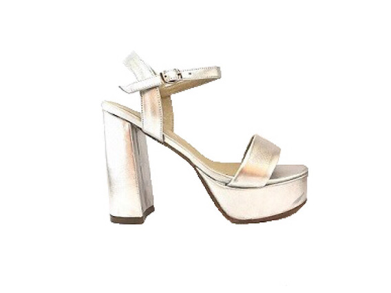 Natacha Zapato Mujer Sandalia Plataforma Cuero Plata#1353