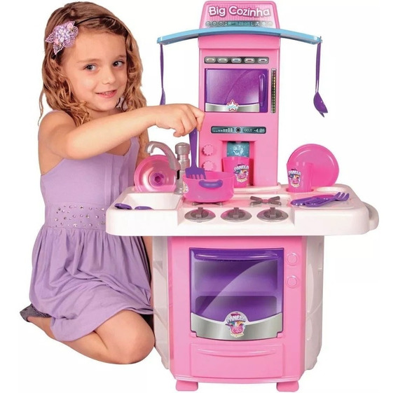 Cozinha Infantil Menina Completa Pia Fogão Forno Sai Água