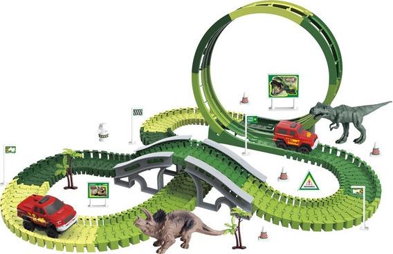 Pista Dinossauro Rex Maluca Magica Track Com 172 Pç 1 Carro