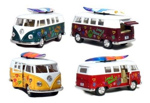 Conjunto De 4 Vehiculos 5 1962 Vw Classic Van Flowers Con Ta
