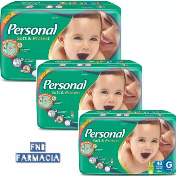 Fralda Personal Mega G Kit 3 Pacotes De 48 Cada Total 144 Un