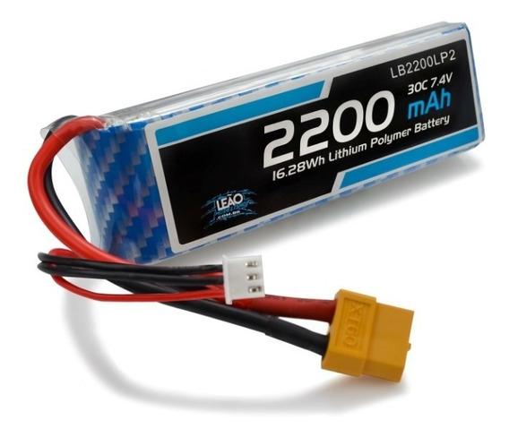 Bateria Lipo - 7.4v - 2s - 2200mah - 30c/60c - Xt60 C/ Nfe