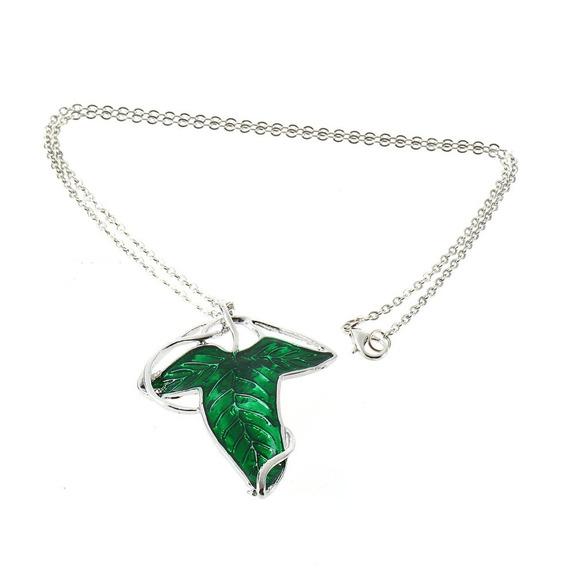 Senhor Of O Anéis Verde Folha Elven Pin Broche Pingente Com